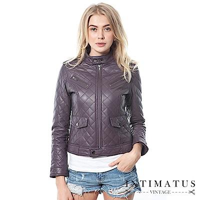INTIMATUS 真皮 香奈兒菱格鋪棉短版軍裝風小羊皮皮衣 紫羅蘭