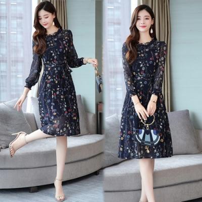【韓國K.W.】輕柔花樣年華時尚顯瘦雪紡印花洋裝