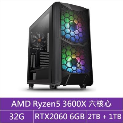 (無卡分期12期)華碩X570平台[馭神判官]R5六核RTX2060獨顯電玩機