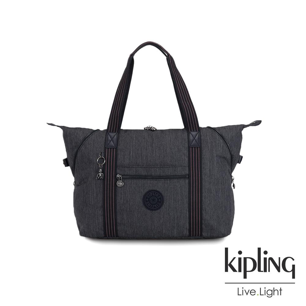 Kipling 未來感極簡風深灰丹寧手提側背包-ART M