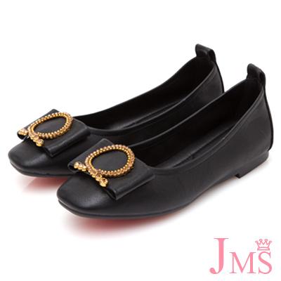 JMS-低調點點鑽飾大扣環平底娃娃鞋-黑色