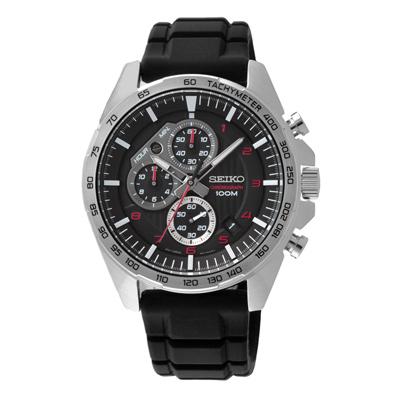 SEIKO 運動型男多功能三眼腕錶-黑X紅(SSB325P1)