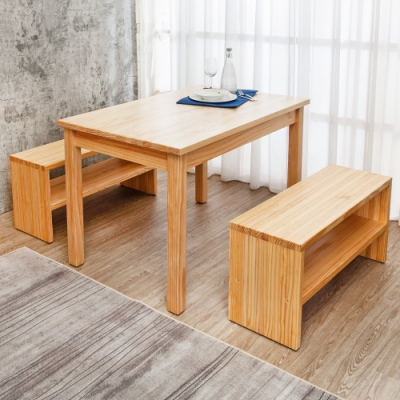 Boden-森林家具 4尺全實木餐桌椅組合(1桌2長凳)-DIY-120x75x77cm