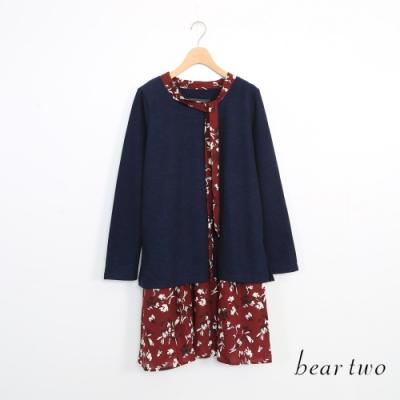 beartwo-假兩件碎花下擺洋裝-藍
