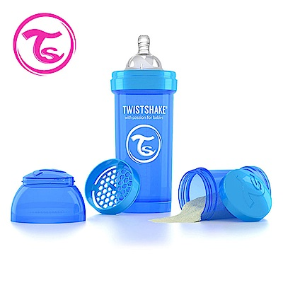 Twistshake 瑞典時尚 彩虹奶瓶/防脹氣奶瓶260ml/奶嘴口徑0.5mm-皇家藍