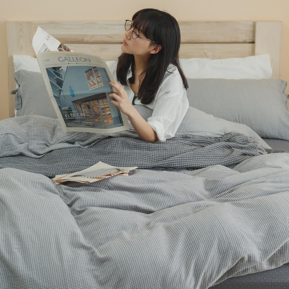 翔仔居家 台灣製 頂級長絨棉 色織雙層紗系列 薄被套&床包4件組-晨霧灰 (雙人)