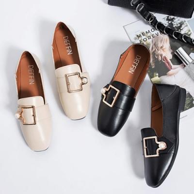 KEITH-WILL時尚鞋館 (預購) 女人話題個性襟扣方頭樂福鞋