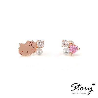 STORY故事銀飾-PinkHolic 閃亮粉紅時代耳環-Hello Kitty 款