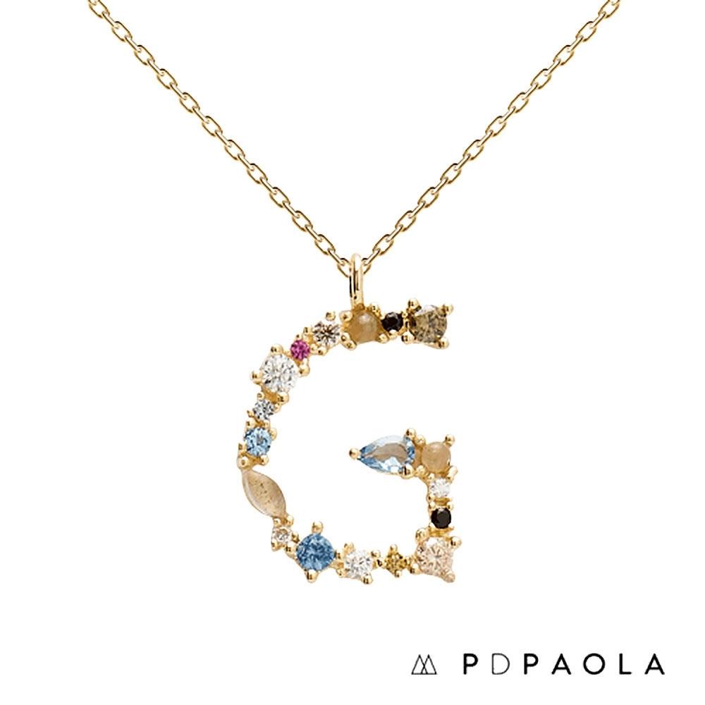 PD PAOLA 西班牙輕奢時尚品牌 字母G 彩鑽寶石項鍊