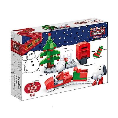 【BanBao邦寶積木】史努比系列 Peanuts Snoopy 幸福雪橇車 7541
