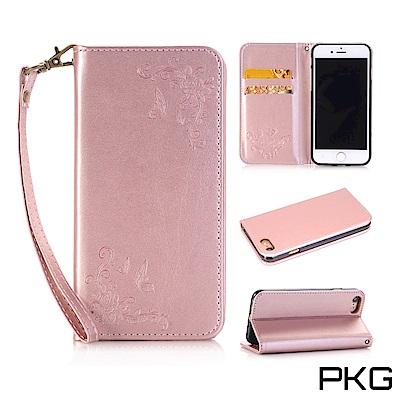 PKG Apple IPhone 8 PLUS 側翻式皮套-精選系列-蝴蝶壓紋-...