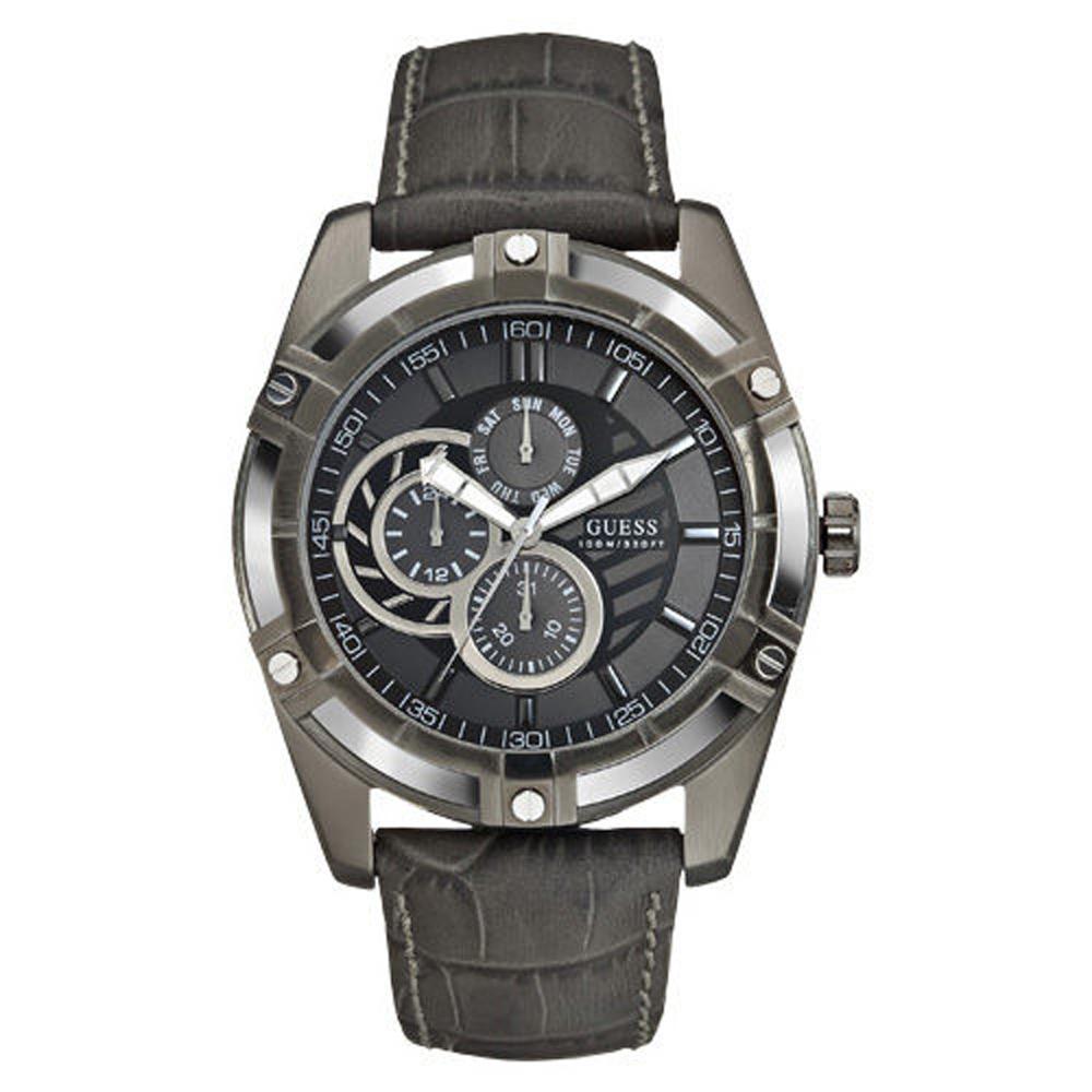 GUESS 奔馳再起三眼腕錶-鐵灰-W0039G2-45mm