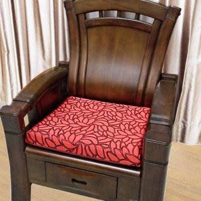 凱蕾絲帝 高支撐記憶聚合緹花緞面坐墊/沙發墊/實木椅墊54x56cm-琴瑟蓮華(二入)