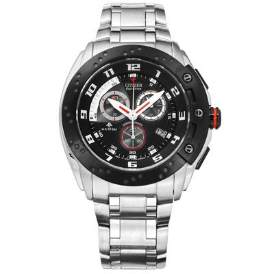 CITIZEN 星辰表 光動能 計時日本製造防水100米不鏽鋼手錶-黑色/45mm