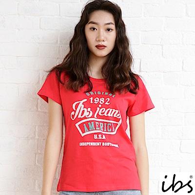 ibs英文字母雙色印花T-女-紅