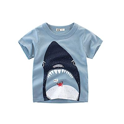 男童 中小童 歐美風格舒柔棉短袖T恤-大鯊魚