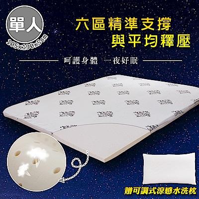 【格藍傢飾】100%頂級天然乳膠防蹣抗菌5cm床墊&水洗枕(單人)