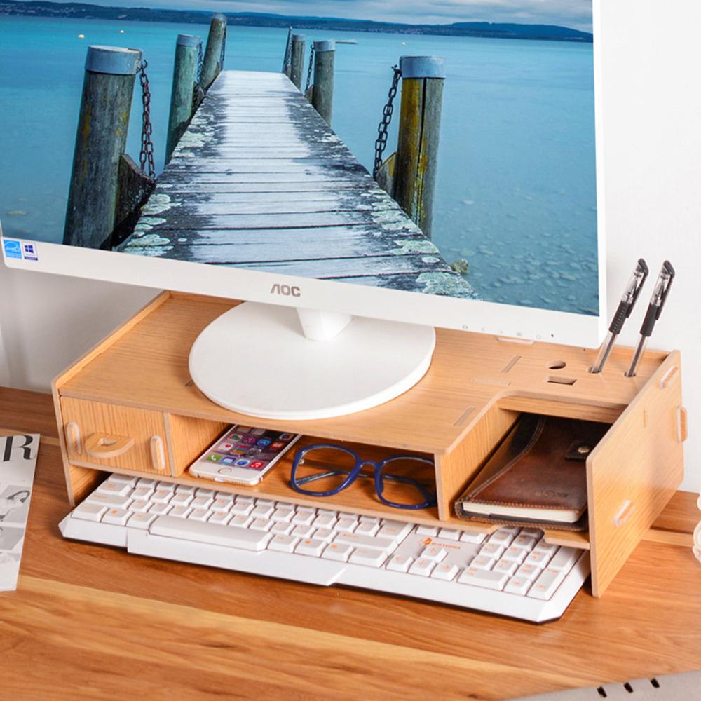 半島良品 多功能DIY木質電腦螢幕架 小抽-木紋