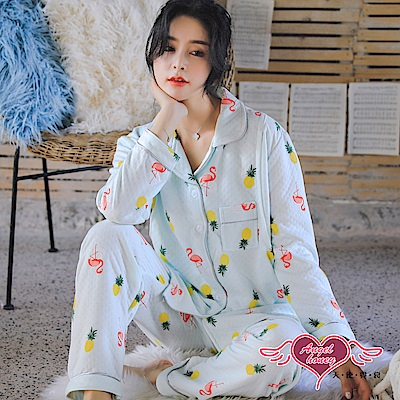天使霓裳 夏日火鶴 二件式長袖孕婦哺乳套裝月子服(綠F)