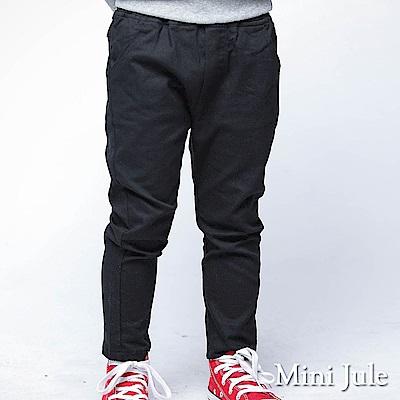 Mini Jule 褲子 後單口袋純色鬆緊彈性長褲(黑)