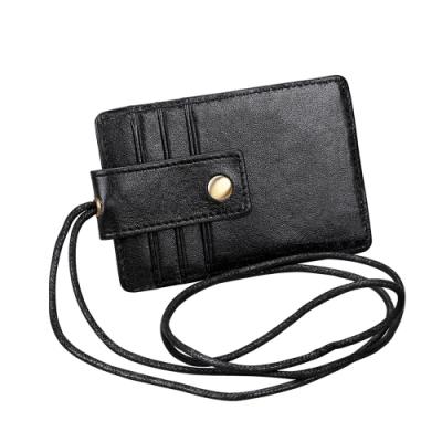 GT0153BK真皮掛牌識別證信用卡套(附吊繩)黑色