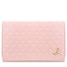 agnes b. 粉紅色圓點皮革證件名片短夾