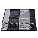 LV M70922 Horizon City系列品牌字母條紋織花開士米羊毛混紡圍巾(灰)
