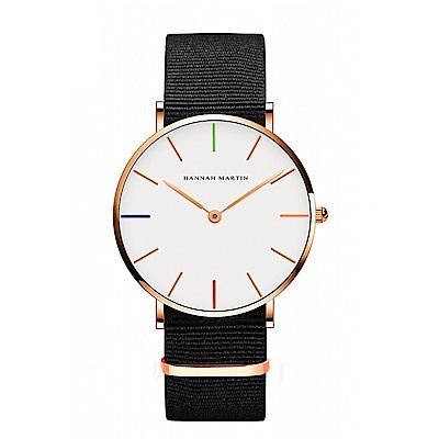 HANNAH MARTIN 彩色刻度黑帶腕錶-白x36mm(HM3690-B36-FN)