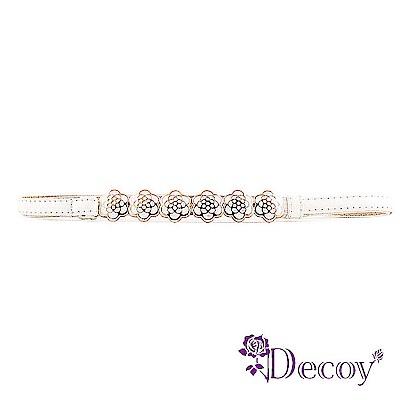 Decoy 玫瑰花環 亮面馬卡龍伸縮細皮帶 白