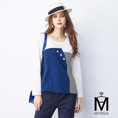 MYVEGA麥雪爾 MA白鈕釦多片式拼接雪紡上衣-深藍