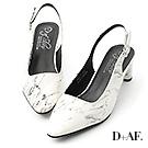 D+AF 魅力首選.大理石紋尖頭後空中跟鞋*白