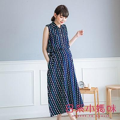 日系小媽咪孕婦裝-韓製孕婦裝~直條點點排釦縮腰襯衫領棉麻洋裝