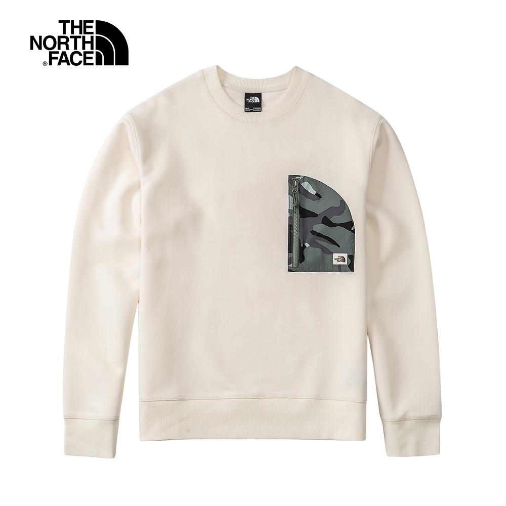 The North Face北面男款米白色拉鍊迷彩胸袋圓領長袖上衣|5AZUN3N