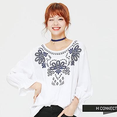 H:CONNECT 韓國品牌 女裝 - 繡花條紋縮口上衣-白