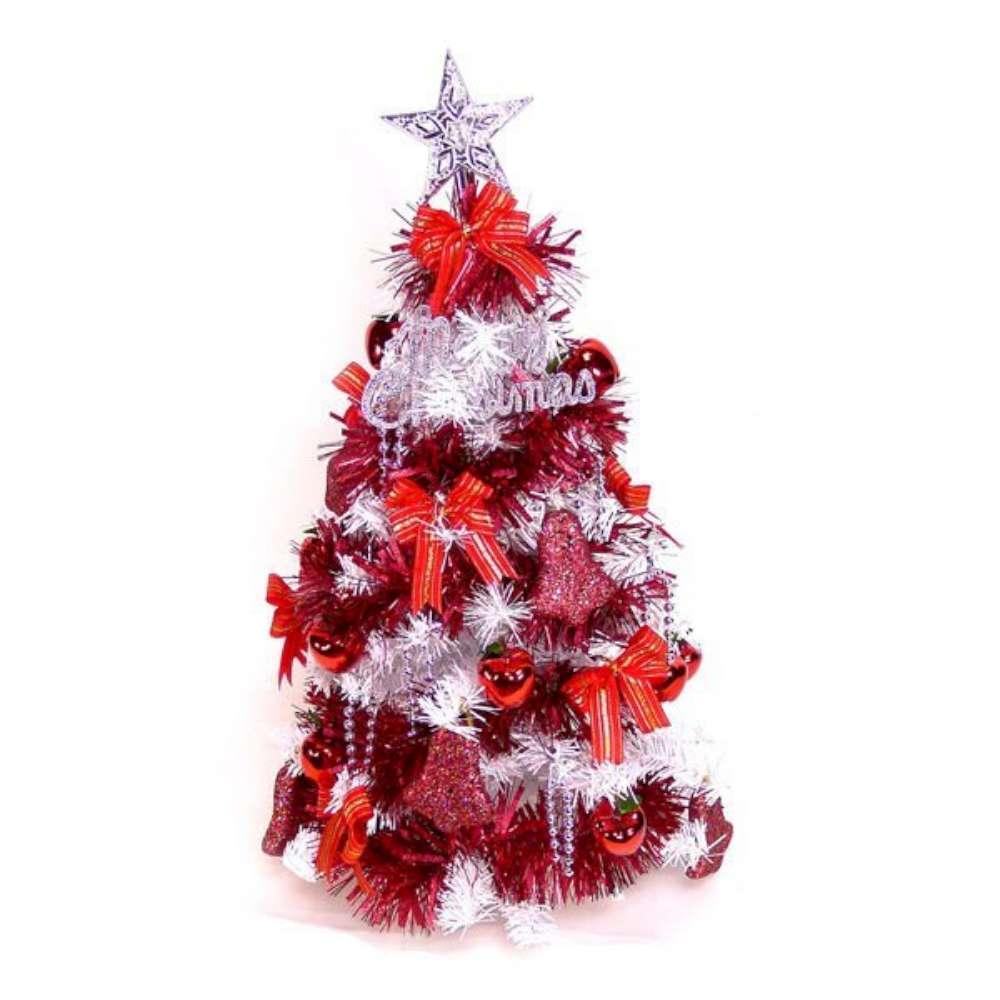 摩達客 可愛2呎/2尺(60cm)經典白色聖誕樹(紅色系裝飾)