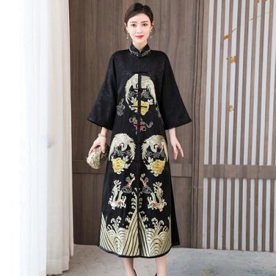 中國風鴻海氣勢古鶴印花旗袍洋裝M-3XL-REKO
