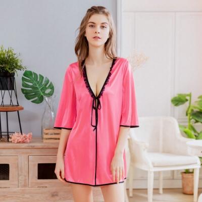 大尺碼Annabery罩衫外套 粉紅黑蕾絲邊柔緞二件式罩衫丁字褲睡衣組 紅 L-2L