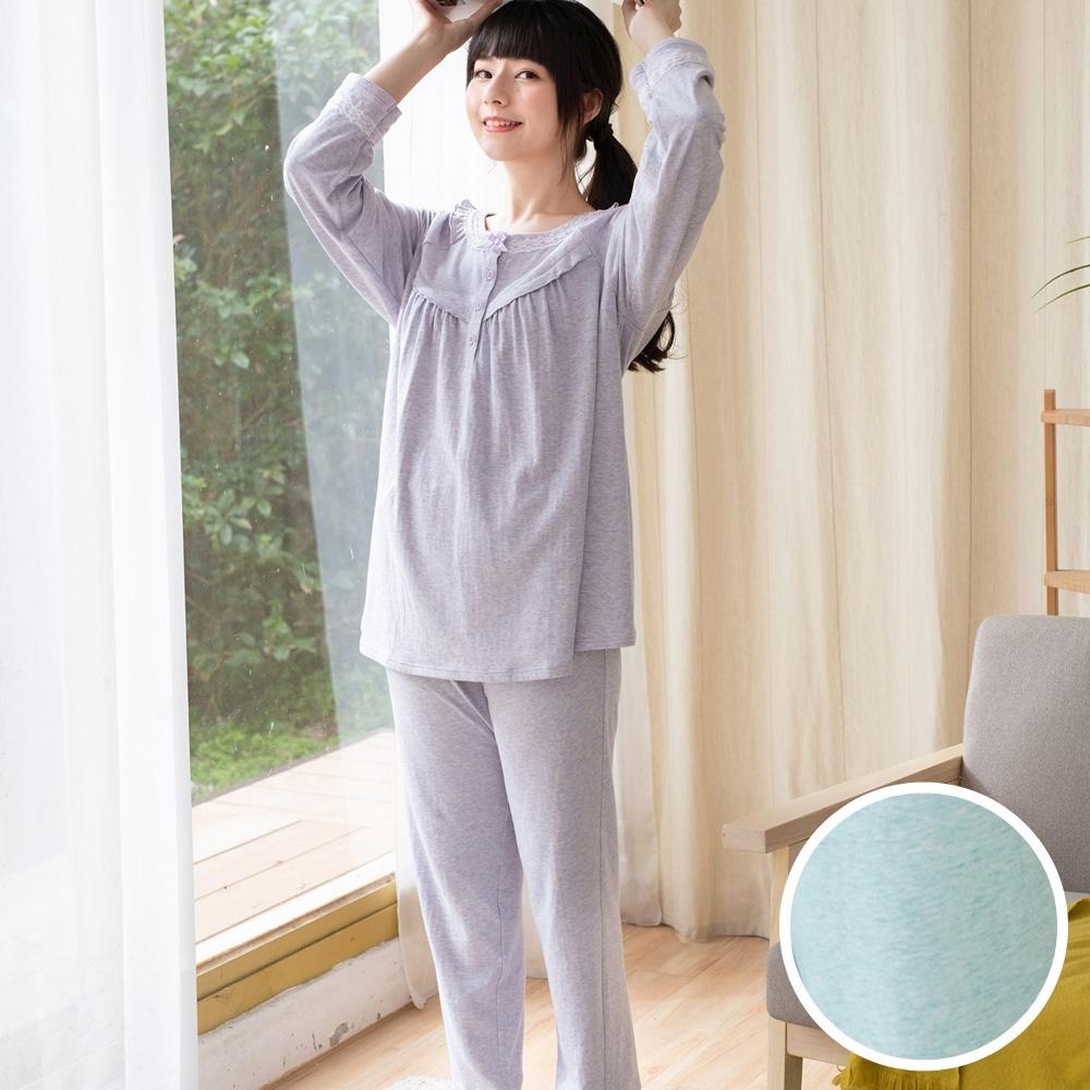 華歌爾睡衣 睡眠研究系列 M-LL長袖褲裝(藍綠) 圓領半開襟-遠紅外線-防蹣抗菌