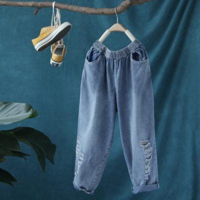 破洞牛仔褲鬆緊腰寬鬆九分褲-設計所在