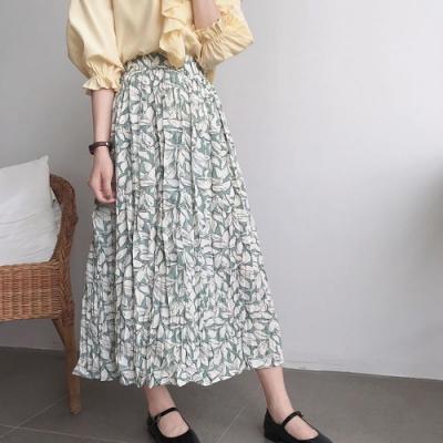 La Belleza小清新印花壓皺百摺裙粉嫩色花朵半身裙鬆緊腰長裙