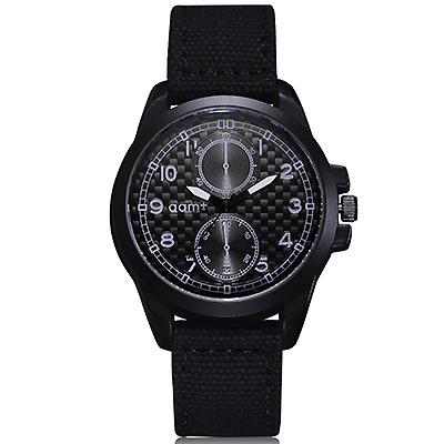 Watch-123 仿二眼數字時標軍風帆布手錶 (2色任選)