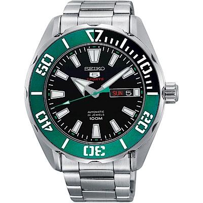SEIKO 精工5號系列 新綠水鬼機械錶(SRPC53J1)-黑x綠圈/46mm