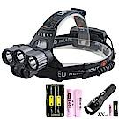 買頭燈送手電筒TX特林XML-T65燈USB充電強亮頭燈(HD-A302-L2S)
