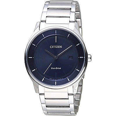 CITIZEN星辰GENT S簡約時尚光動能腕錶(BM7400-80L)-藍