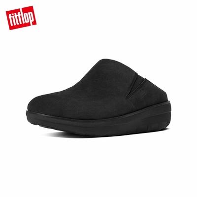 【FitFlop】LOAFF SUEDE CLOG 易穿脫舒適休閒鞋-女(黑色)