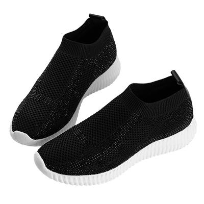 Robinlo & Co.超輕量線條運動感襪子鞋 黑色