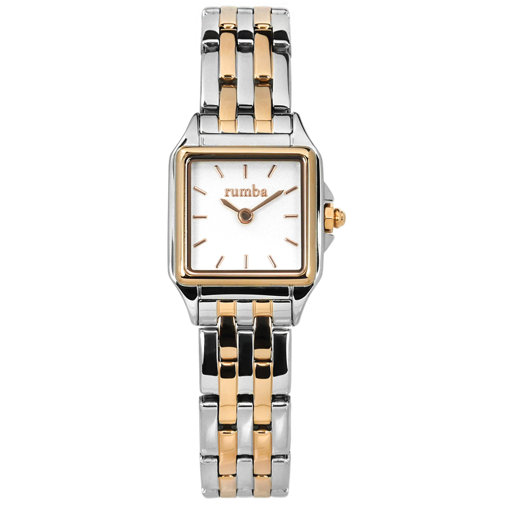 rumba time Bel Air 紐約品牌 不鏽鋼手錶-銀白x鍍玫瑰金/20mm