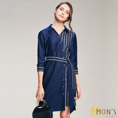 MONS 絲棉條紋拼接襯衫洋裝