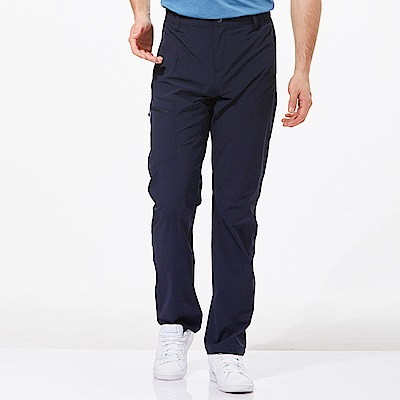 【HAKERS 哈克士】男 快乾彈性修身長褲-海軍藍