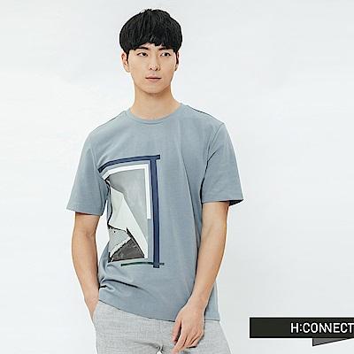 H:CONNECT 韓國品牌 男裝-情境圖印圓領T-shirt-藍